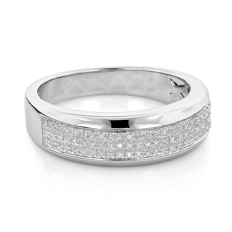 Sterling Silver 1/5ct TDW Men's Pave Diamond Band