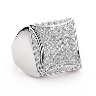 Luxurman Sterling Silver Men's 1ct TDW Pave Diamond Ring (I-J, I1-I2)