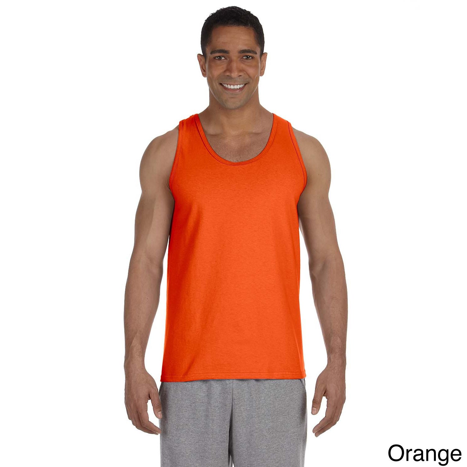 Gildan Mens Ultra Cotton Tank Top Orange Size XXL