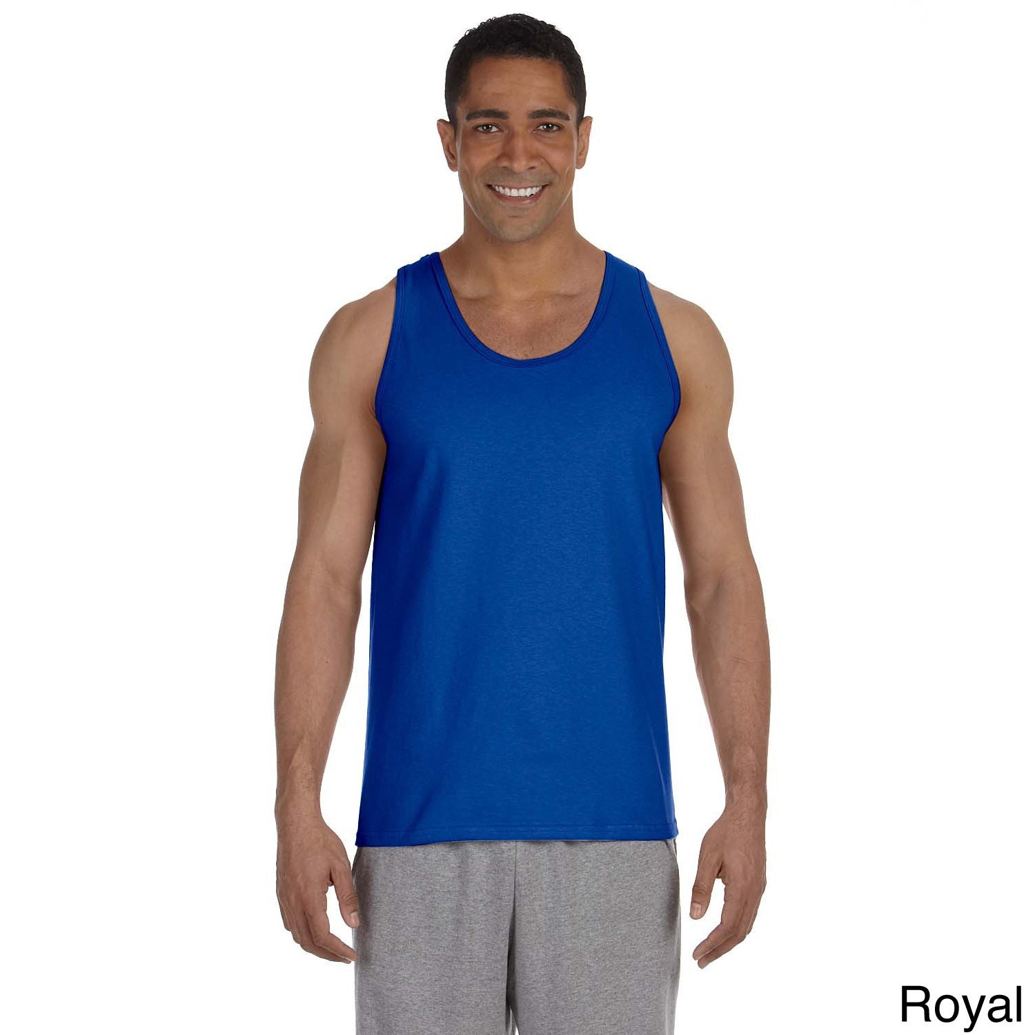Gildan Men's Ultra Cotton Tank Top (XL,Royal), Blue