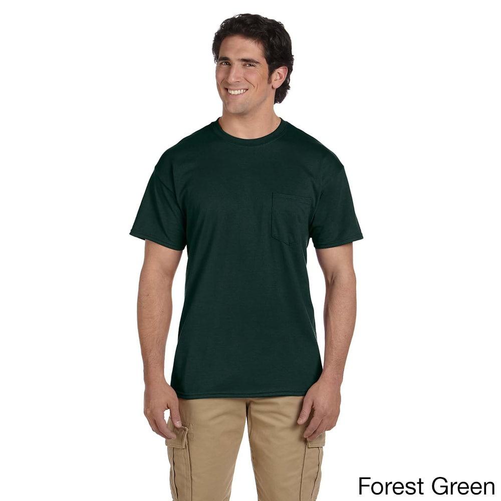 Gildan Mens Dry Blend Pocket T shirt Green Size XXL