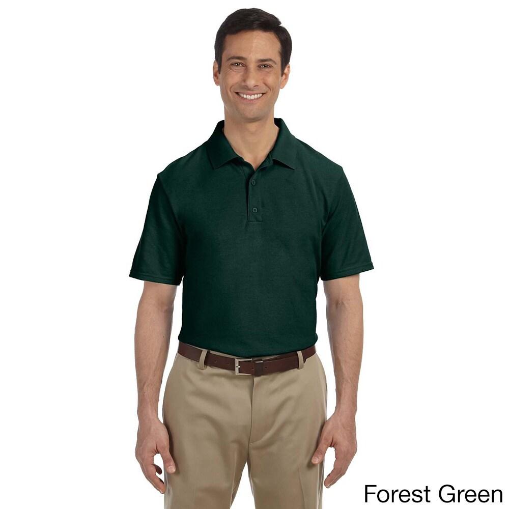 Gildan Mens Dry Blend Pique Sport Shirt Green Size XXL