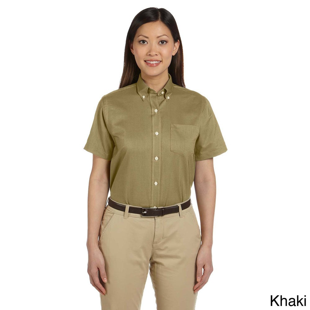 Van Heusen Women's Short Sleeve Wrinkle-resistant Oxford ...