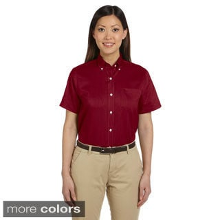 Women's Short Sleeve Wrinkle-resistant Oxford Shirt (Option: Khaki)