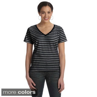 Women's Ringspun Striped V-neck T-shirt