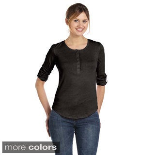 Women's Cotton Rolled-sleeve Henley