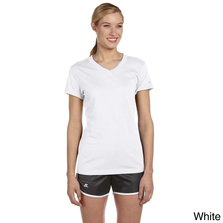 Russell Ladies' Dri-Power V-Neck T-Shirt (S,White) (polye...