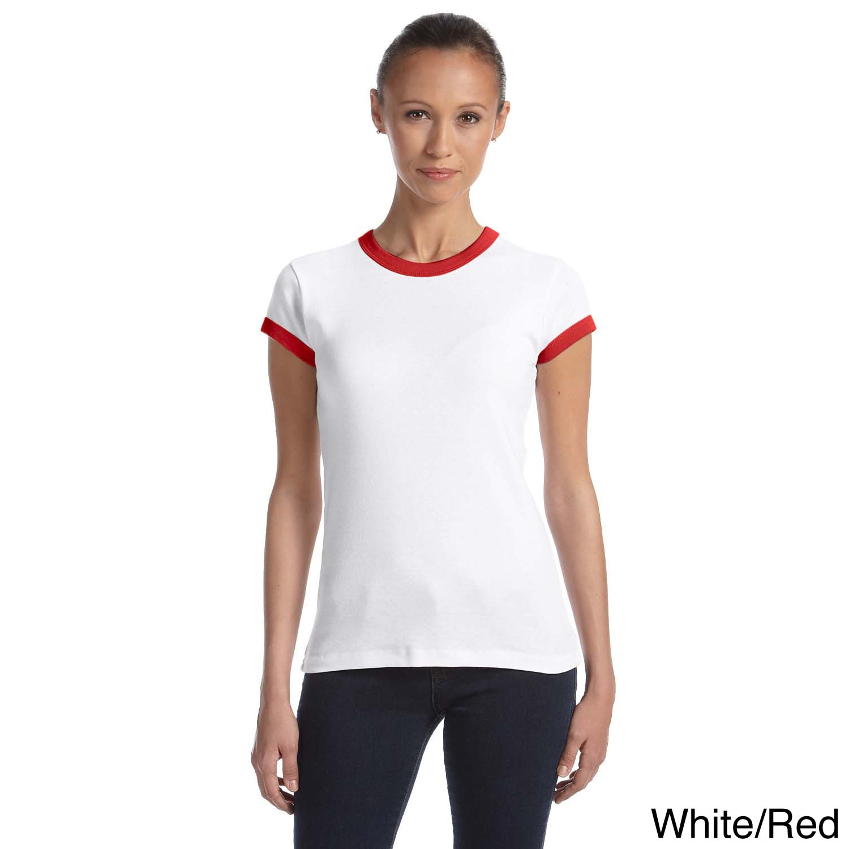 Bella Ladies 5.8 oz., 1x1 Baby Rib Ringer T-Shirt (XL,Dee...