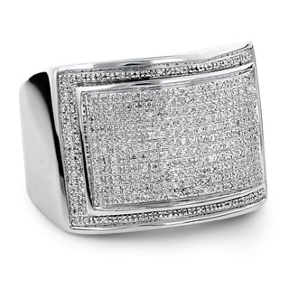 Luxurman Sterling Silver Men's 7/8ct TDW Diamond Pave Ring (H-I, SI1-SI2)
