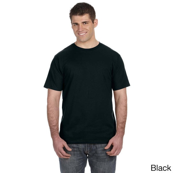 Men's Ringspun Solid Color Short Sleeve Cotton T-shirt. Opens flyout.