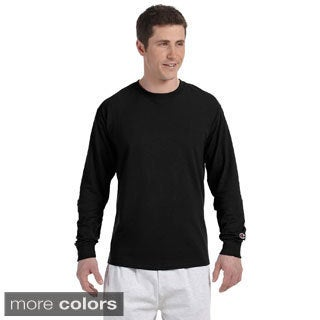 Champion Men's Long-sleeve Tagless T-shirt (Option: Black)