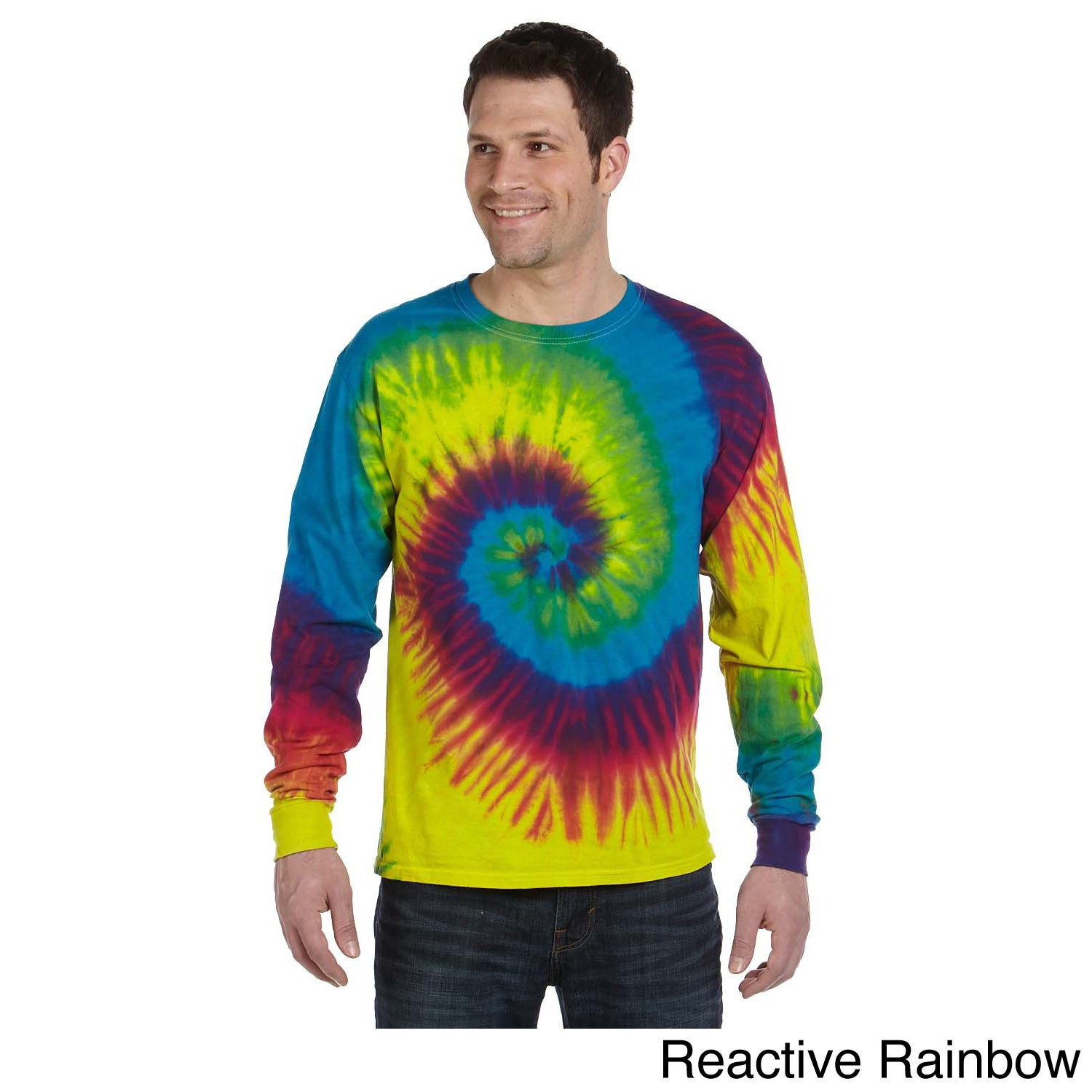 Tie-dyed Long-sleeve Cotton T-shirt (S,Reactive Rainbow),...