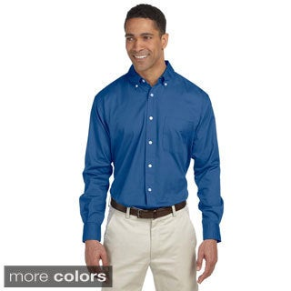 Men's Long-sleeve Twill Button-up Shirt