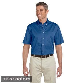 Men's Short-sleeve Twill Cotton Button Down Shirt