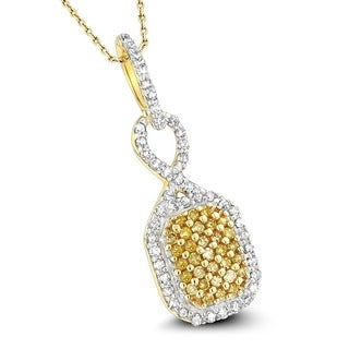 Luxurman 0.27CT Yellow Diamond Pendant with 18-inch White Gold Chain