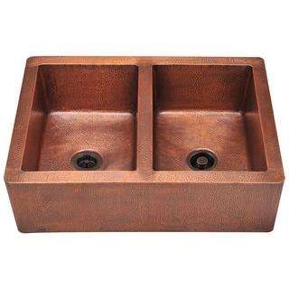 Polaris Sinks P219 Double Equal Bowl Copper Apron Sink
