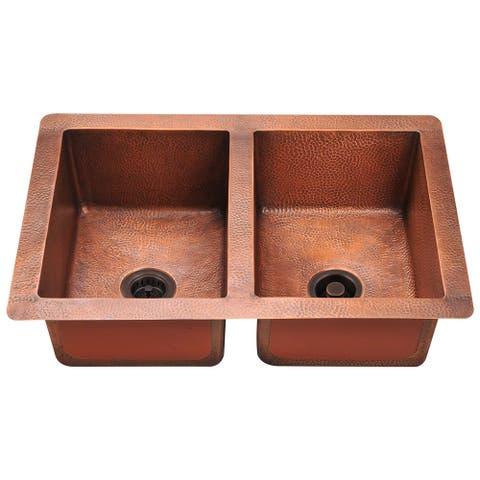 Polaris Sinks P209 Double Equal Bowl Copper Sink