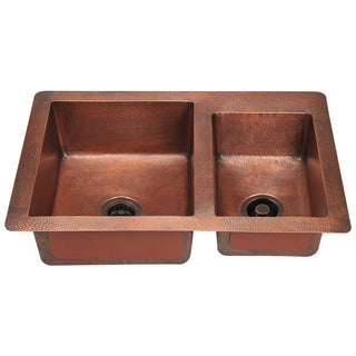 Polaris Sinks P109 Double Offset Bowl Copper Sink