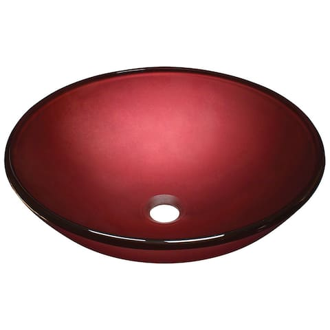 Polaris Sinks P146 Hand Painted Red Glass Vessel Sink