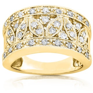 Annello by Kobelli 14k Yellow Gold 1/2ct TDW Diamond Floral Wide Band Anniversary Ring