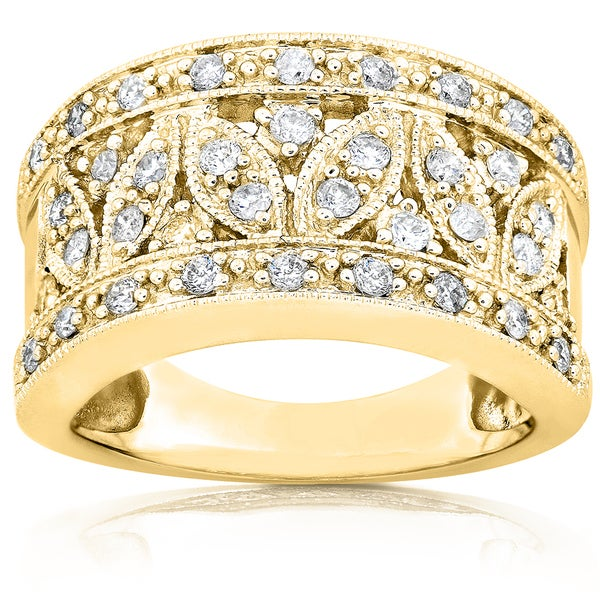 Annello 14k Yellow Gold 1/2ct TDW Diamond Floral Anniversary Ring