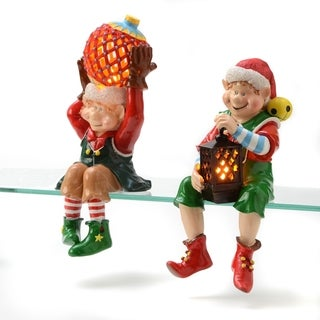 2-piece Sitting Elves Flameless Candles