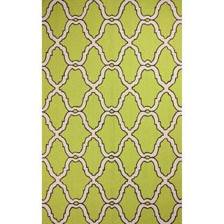 nuLOOM Hand-hooked Moroccan Trellis Wool Green Rug (5' x 8')