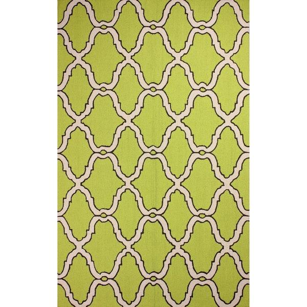 nuLOOM Hand-hooked Moroccan Trellis Wool Green Rug (5' x 8') - 5' x 8'