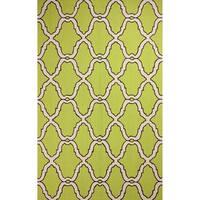 nuLOOM Hand-hooked Moroccan Trellis Wool Green Rug (7'6 x 9'6)