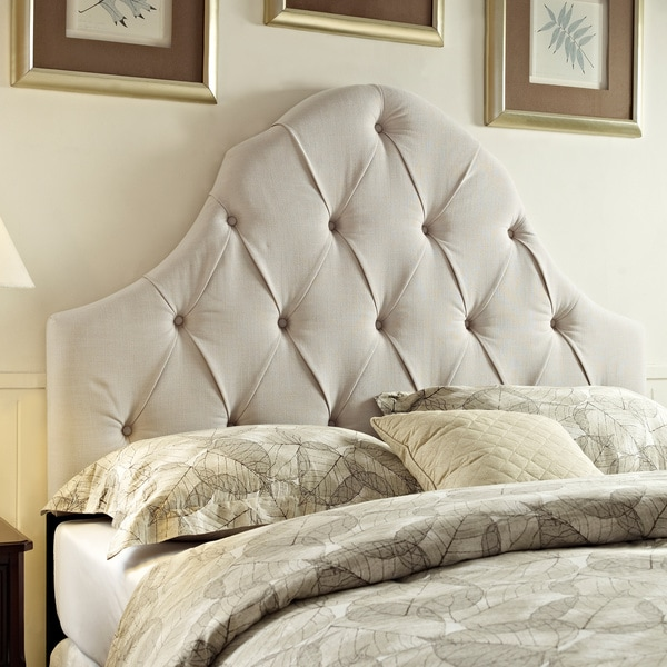 Tufted Taupe King California Size Upholstered Headboard