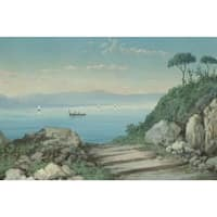 The Blue Lake' Oil on Canvas Art - Multi