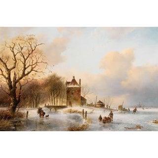 Petrus Marius Brouwer 'Figures on a Frozen River' Oil on Canvas Art