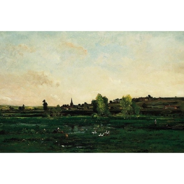 Charles-François Daubigny 'Hamlet on the Seine near Vernon' Oil on Canvas Art - Multi