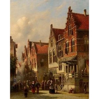 Pieter Gerardus Vertin 'Dutch Street' Oil on Canvas Art