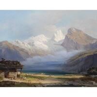 Glacier and the Lake' Oil on Canvas Art - Multi