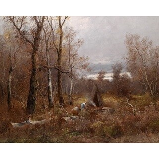 Adolf Kaufmann 'Charburners in the Wood' Oil on Canvas Art