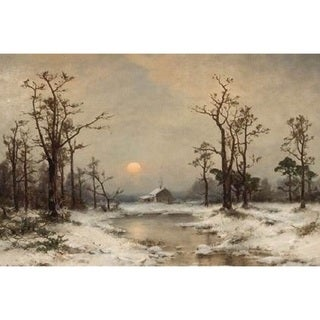 Carl Von Perbandt 'Snow Scene with a Winter Cabin' Oil on Canvas Art