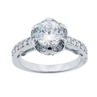Meredith Leigh Sterling Silver Round-cut Cubic Zirconia Polish Ring