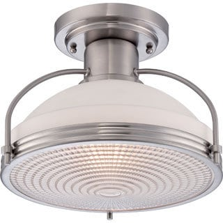 Quoizel 'Warren' Brushed Nickel Finish Medium Semi Flush Mount Fixture