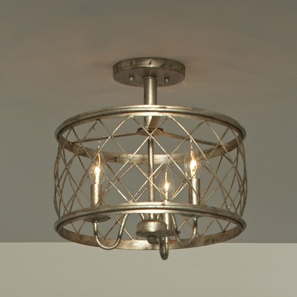 Quoizel Dury Century Silver Leaf Finish Medium Semi Flush