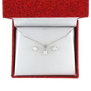 Montebello 10k Gold 1ct TDW Round Diamond Solitaire Stud Earrings and Necklace Set (I-J, I2-I3)