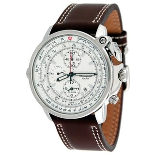 Seiko Men's SNAB71P1 Flightmaster Pilot Brown Leather Watch