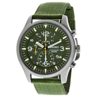 Seiko Men's SNDA27 Chronograph Green Nylon Watch