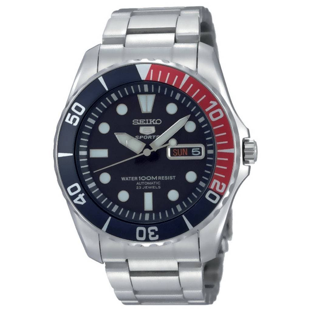 Seiko Men's Sports Silvertone Automatic Watch (Black), Si...