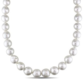 Miadora Signature Collection 14k Yellow Gold South Sea White Pearl/ Diamond Accent Necklace (12-15.5 mm)