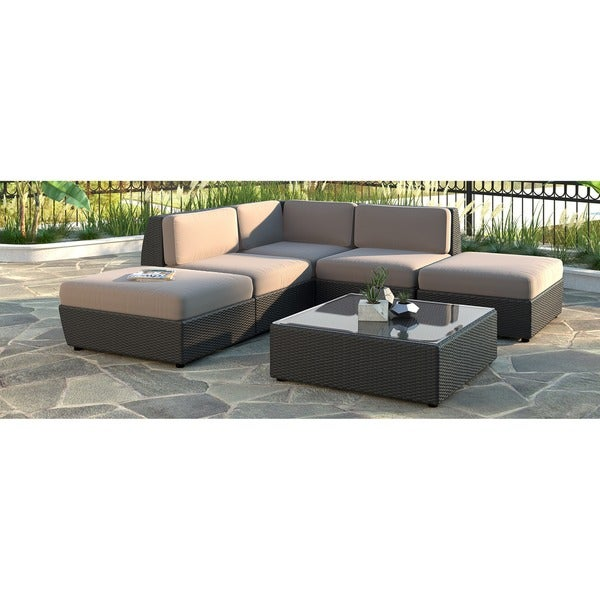 Corliving Seattle 6 Piece Chaise Lounge Sectional Patio Set