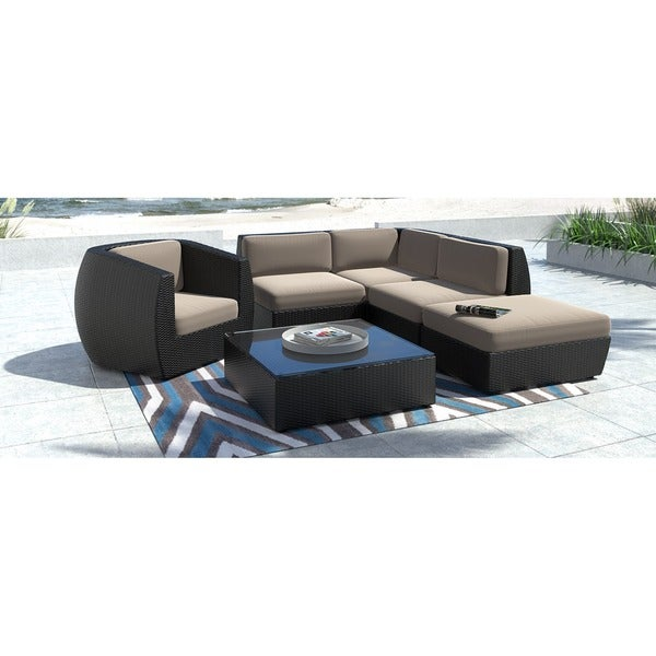 corliving seattle 6 piece curved sectional with chair