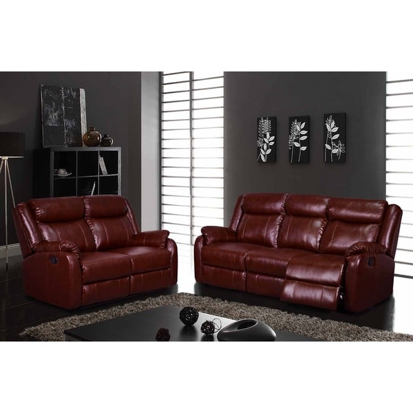 Transitional Burgundy Reclining Sofa Free Shipping Today