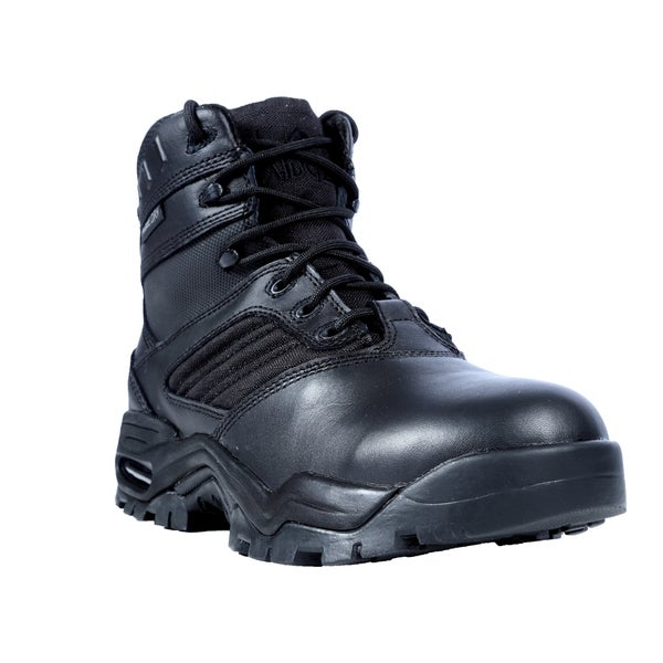 Ridge Outdoors Men's Black Leather Mid Zipper Motorcycle Boots