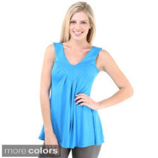 24/7 Comfort Apparel Women's Solid Pleated Tunic Tank Top